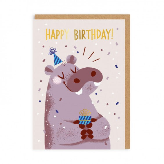 Happy Hippo Birthday Card