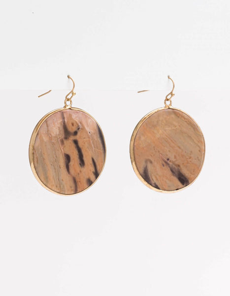 Stone Circle Earrings - Sahara