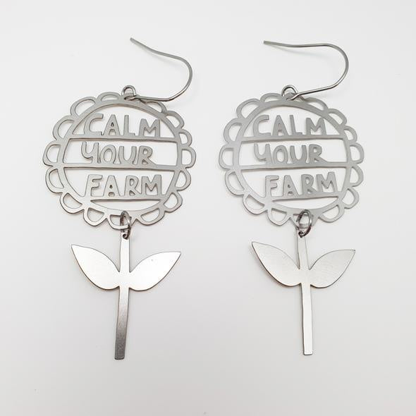 Calm your Farm Earrings - Silver