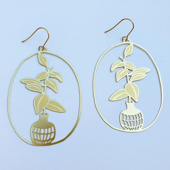 Rubber Fig Pot Earrings- Gold