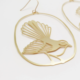 Fantail/Piwakawaka Earrings - Gold