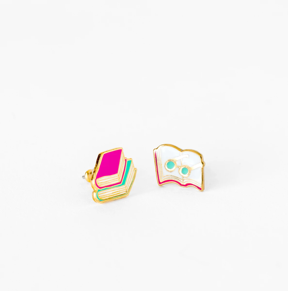Books & Glasses Studs