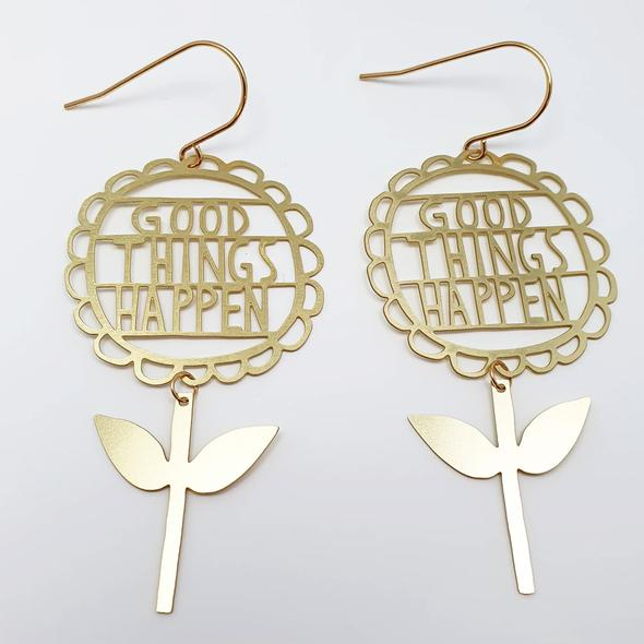 Good Things Happen Earrings - Gold