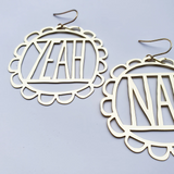 Yeah Nah Earrings - Gold