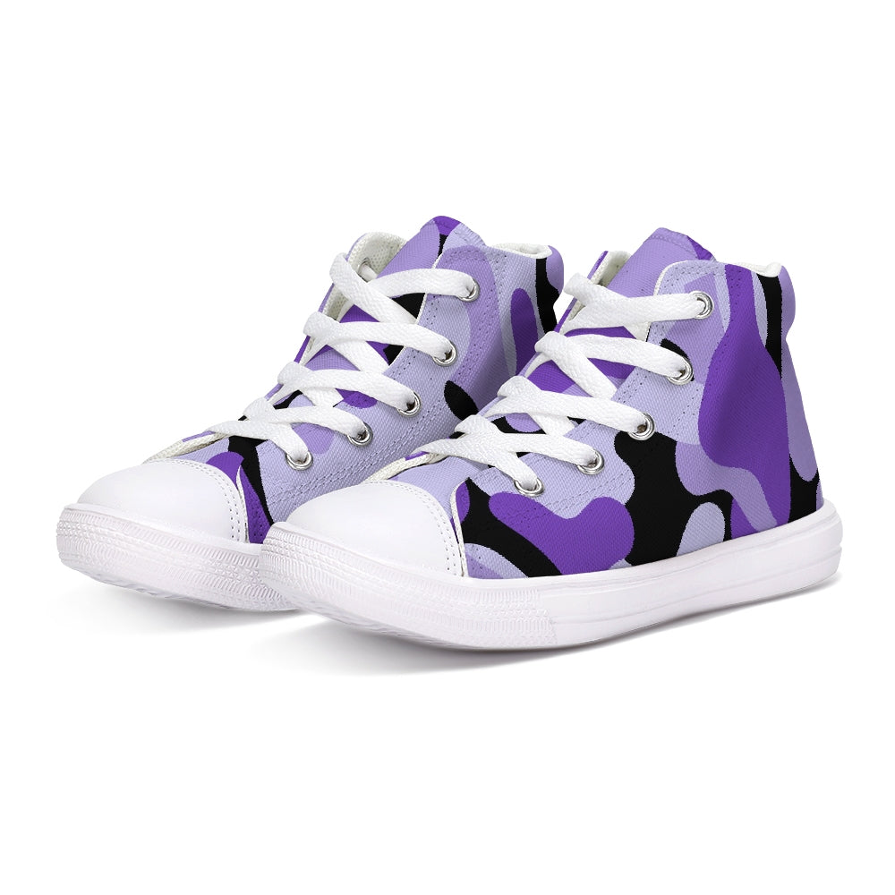 TℲ Purp Black Kamo Kids Hightop Shoe