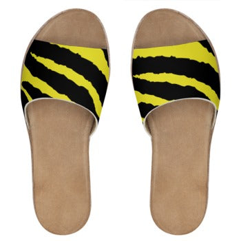 TℲ Savage Stripes Womens Leather Slides