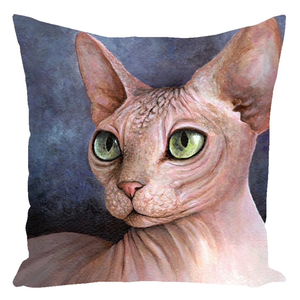Cat 578 Sphynx blue Throw Pillow