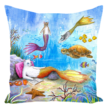 Load image into Gallery viewer, Cat mermaid 31 Throw Pillow