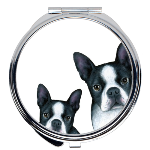 Dog 128 Boston Terrier white Compact Mirror