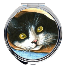 Load image into Gallery viewer, Cat 301 Tuxedo Cat Compact Mirror