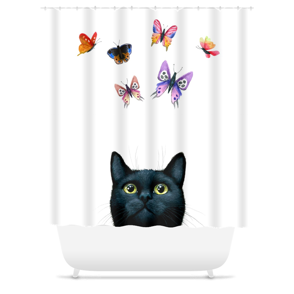 Cat 606 white Shower Curtains