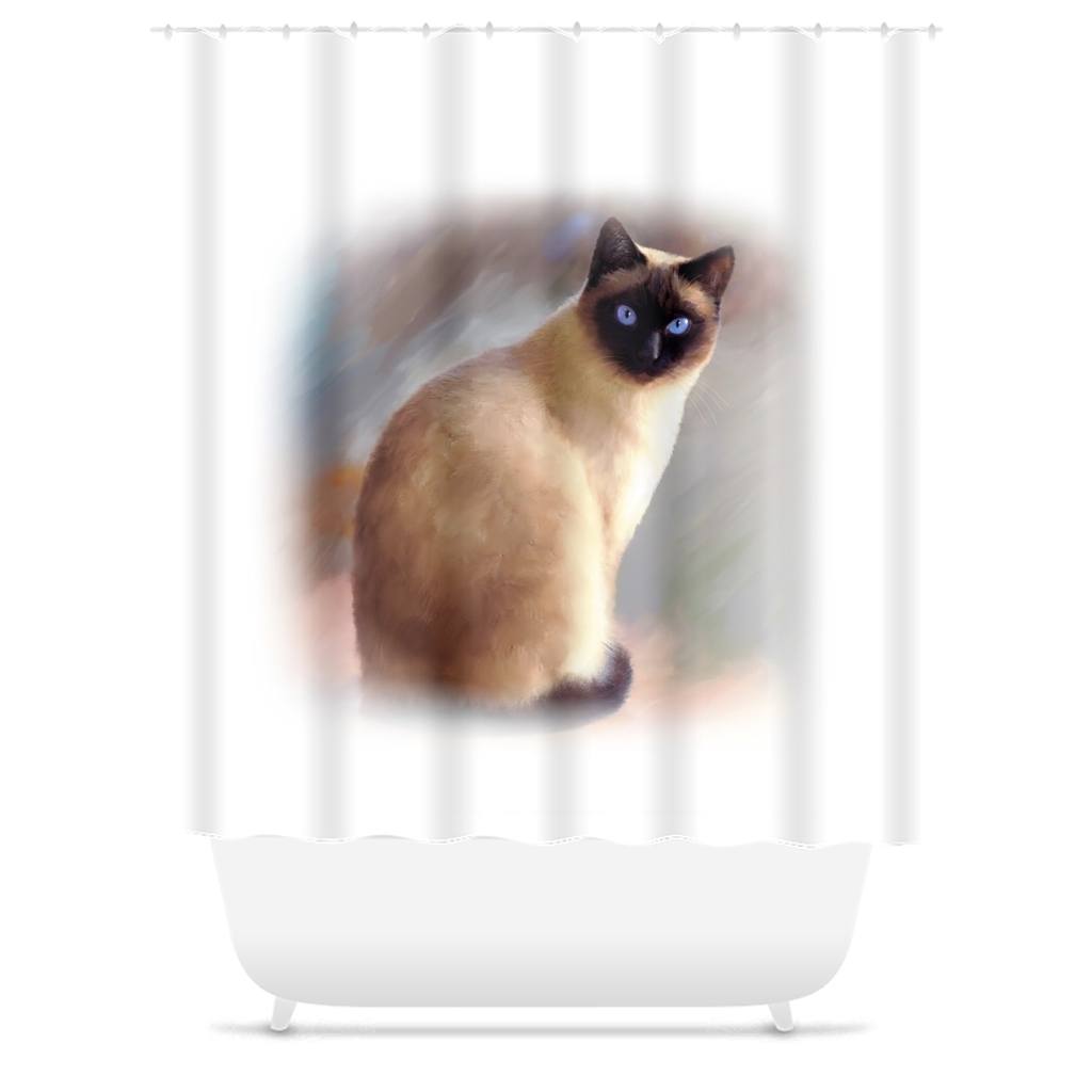 Cat 613 Siamese Shower Curtains