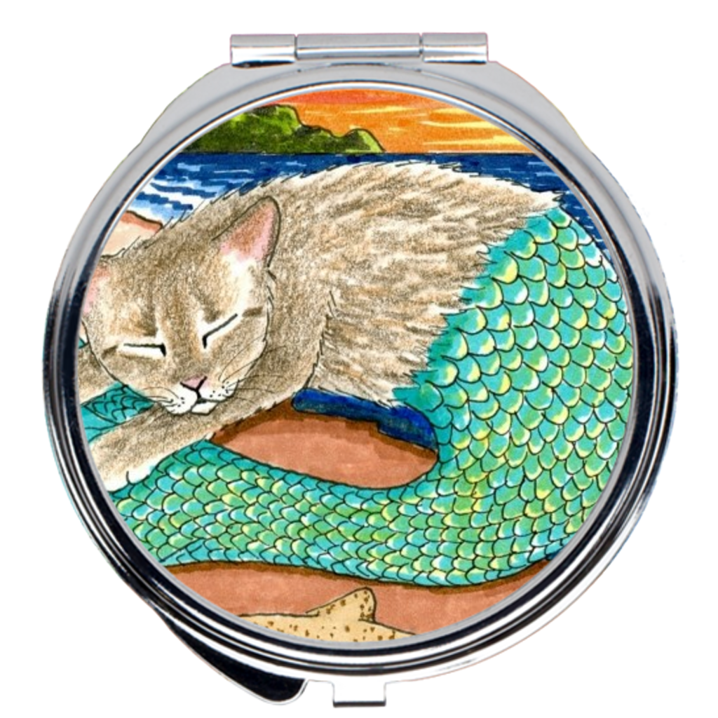Cat Mermaid 23 Compact Mirror