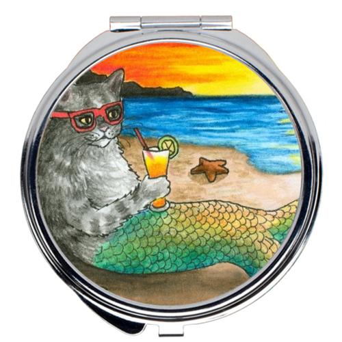Cat Mermaid 25 Compact Mirror