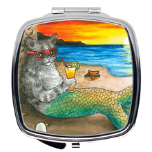Load image into Gallery viewer, Cat Mermaid 25 Compact Mirror