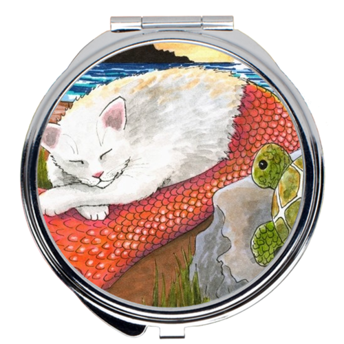 Cat Mermaid 26 Compact Mirror