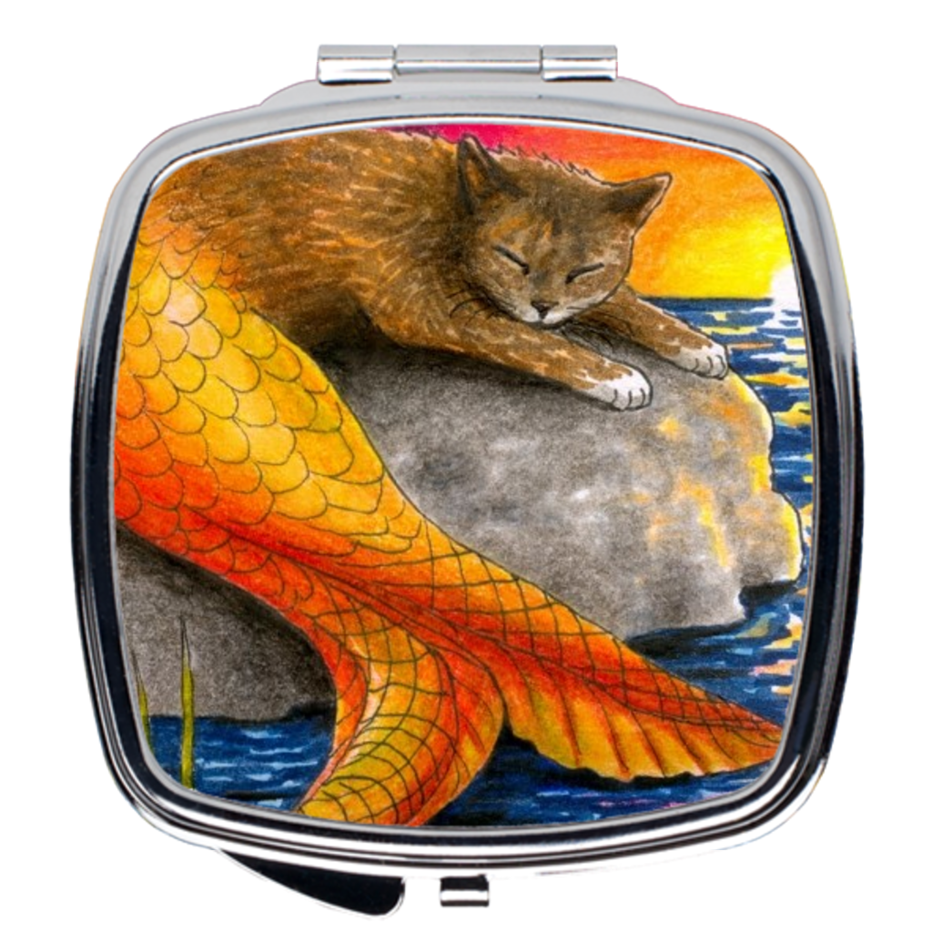 Cat Mermaid 30 Compact Mirror