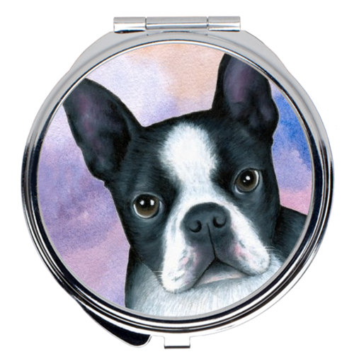 Dog 128 Boston Terrier Pink Blue Compact Mirror