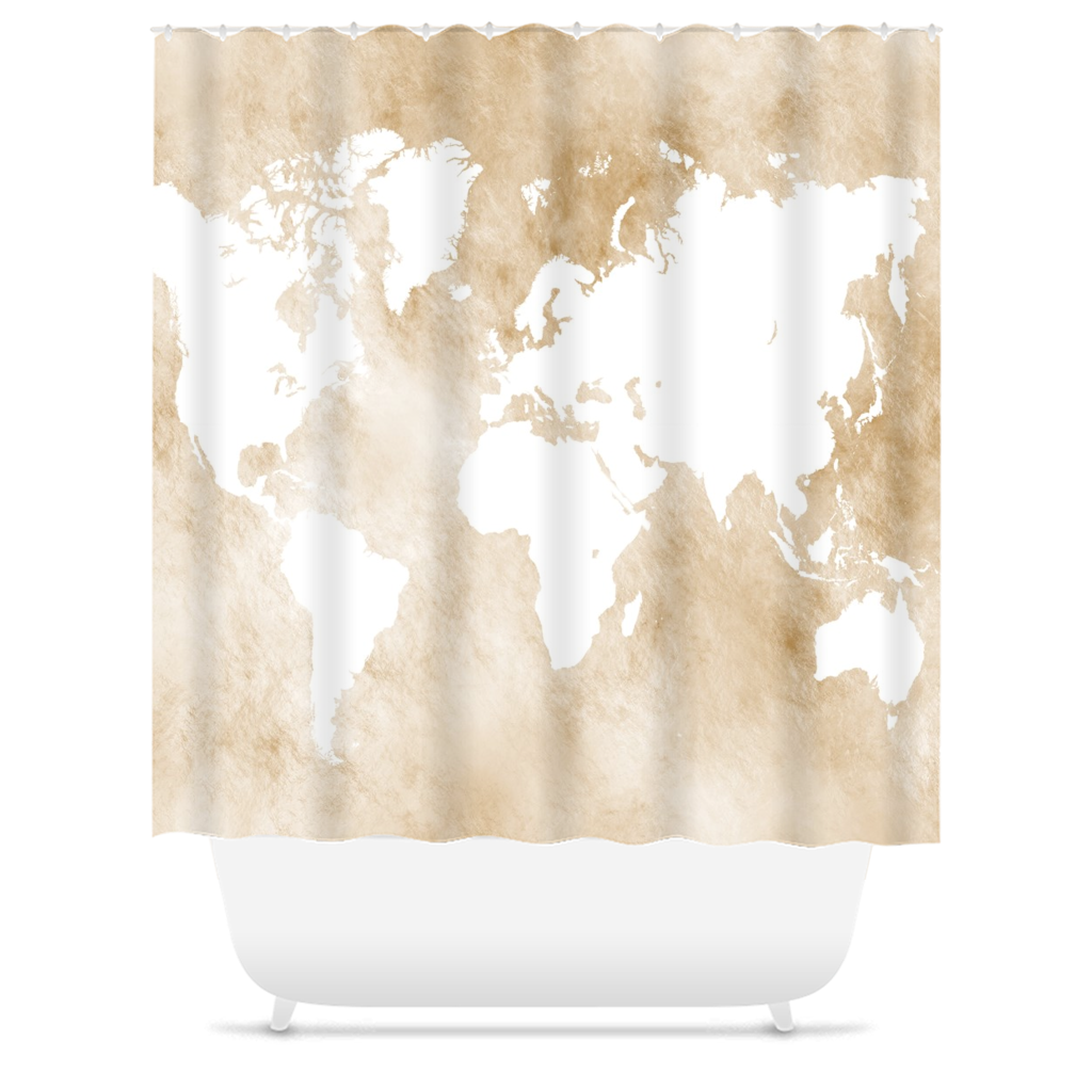 Design 82 World Map Shower Curtain