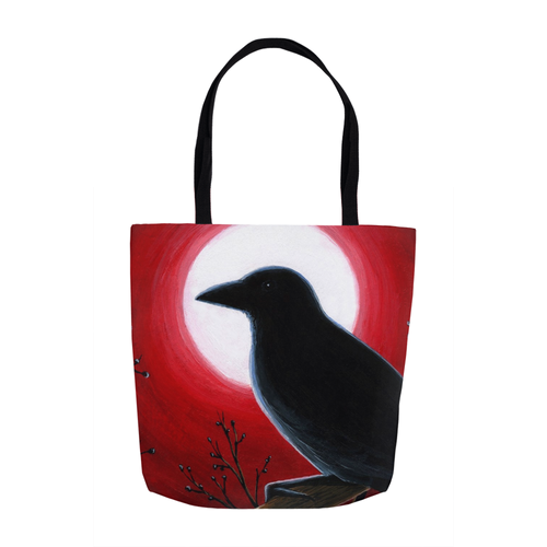 Bird 62 Crow Red Tote Bag