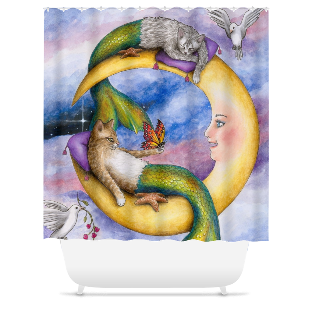 Cat Mermaid 29 Shower Curtains