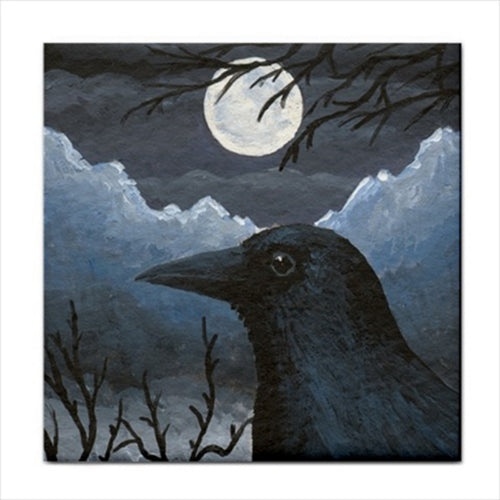 Bird 58 Crow Ceramic Tile