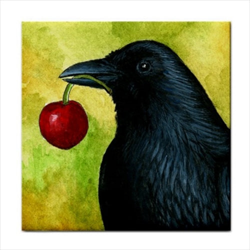 Bird 55 Crow Ceramic Tile
