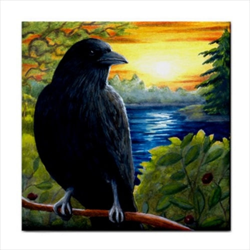 Bird 63 Crow Ceramic Tile