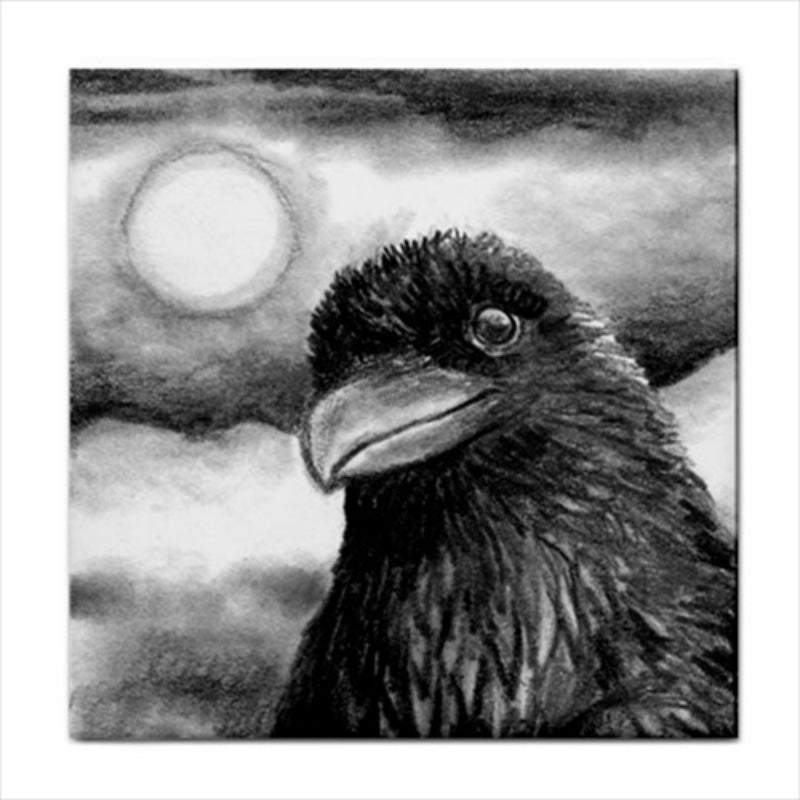 Bird 64 Crow Ceramic Tile