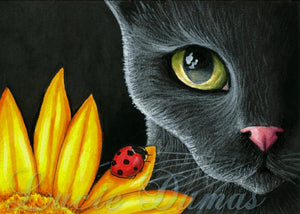 black cat 510 art painting by Lucie Dumas