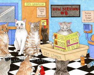 cat 522 funny art print by Lucie Dumas