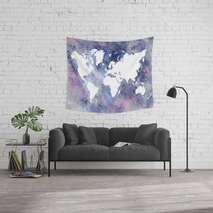 Design 65 Blue Pink World Map Wall Tapestry