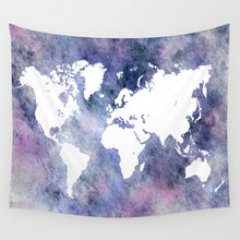 Load image into Gallery viewer, Design 65 Blue Pink World Map Wall Tapestry