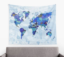Load image into Gallery viewer, Design 105 Blue World Map Tapestry