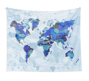 Design 105 Blue World Map Tapestry