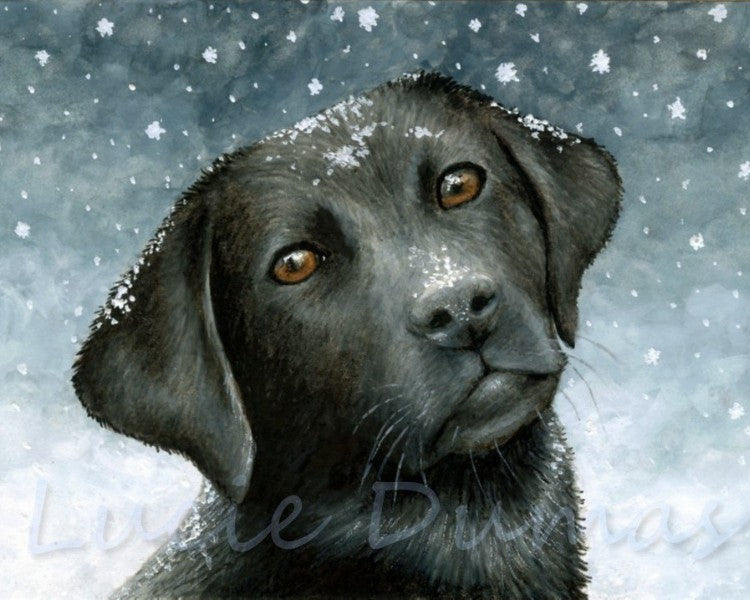 Dog 100 Black Labrador small Art print