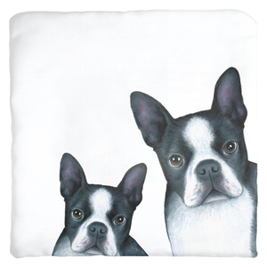 Dog 128 Boston Terrier White Throw Pillows