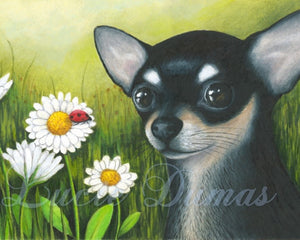 dog 79 chihuahua art print by Lucie Dumas