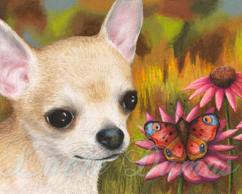dog 85 chihuahua art print by Lucie Dumas