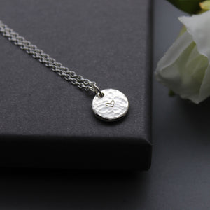 Sterling Silver Heart Stamped Organic Pendant