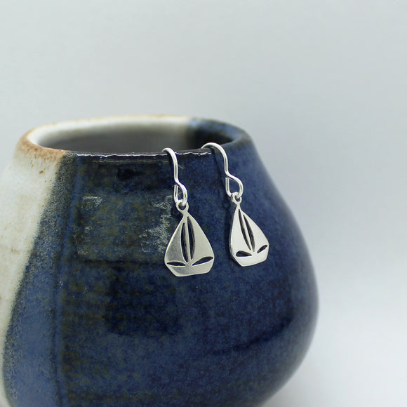 Sterling Silver Sail Boat Drop Earrings