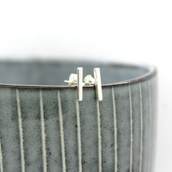 Sterling Silver Square T Bar Stud Earrings