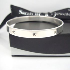 Sterling Silver Triple Star Wide Bangle
