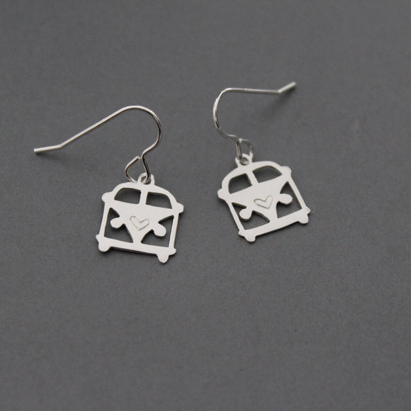 Sterling Silver Camper Van Drop Earrings