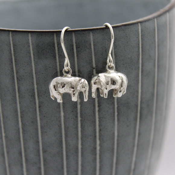 Sterling Silver Elephant Charm Drop Earrings