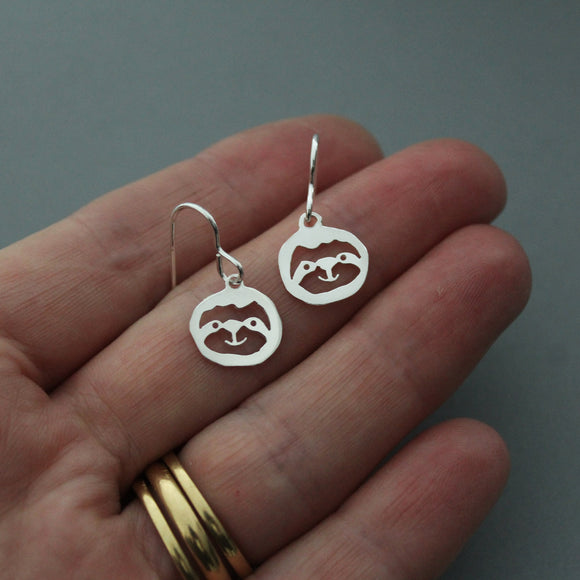 Sterling Silver Sloth Drop Earrings