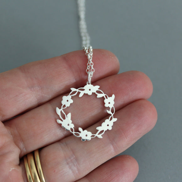 Sterling Silver Delicate Flower Ring Pendant