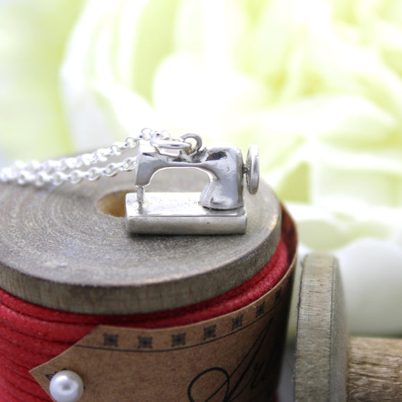 Sterling Silver Sewing Machine Charm Pendant