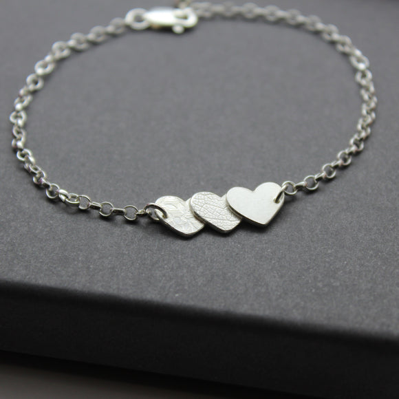 Sterling Silver Small Triple Textured Hearts Bracelet