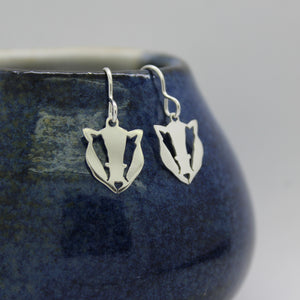 Sterling Silver Badger Drop Earrings